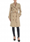 Leather D Ring Detail Trench Coat In Beige