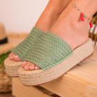 Papuci Slapi Dama Textil Verzi Affea B8908