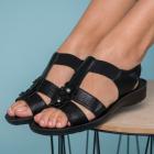 Sandale Dama fara Toc Piele Ecologica Negre Bazif B8946