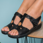 Sandale Dama fara Toc Piele Ecologica Negre Cyla B8949
