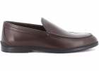 Stamped Logo Leather Loafers In Brown