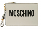 Moschino Logo Clutch Bag In White