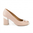 Pantofi femei Enzo Bertini bej din piele cu toc mediu 1899DD1637BE