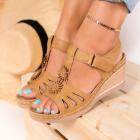 Sandale cu Platforma Piele Ecologica Camel Alexxa B9213