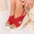 Sandale cu Platforma Piele Ecologica Rosii Carbo B9242