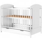 Patut copii din lemn Kamilla 120 cm x 60 cm alb cu sertar