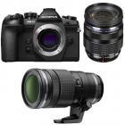 Aparat foto Mirrorless OM D E M1 Mark II 20 Mpx Black Kit Double Zoom