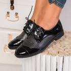 Pantofi Casual Dama Piele Ecologica Lacuita Negri Erin B9722