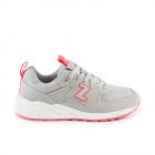 Pantofi sport femei Thezeus gri cu rosu din piele intoarsa 3730DPS2580