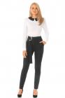 Pantaloni Pretty Girl office negri cu accesoriu metalic