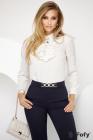 Bluza Fofy ecru eleganta cu jabou si detalii aurii tip frunzulite