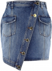 Denim Asymmetric Mini Skirt In Blue