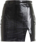 Crocodile Print Mini Skirt In Black