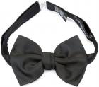 Black Silk Blend Dark Grey Grosgrain Bow Tie