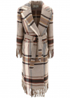 ETRO Fringed Check Coat In Beige