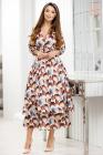 Rochie Emiliana ivoar cu imprimeu floral caramiziu