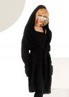 Cardigan negru din tricot cu gluga