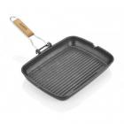 Tigaie grill cu maner detasabil Aluminiu 35 x 25 x 4 5 cm Negru