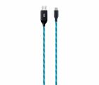 Cablu de date si incarcare micro USB 1m Well cu flux de lumina albastr