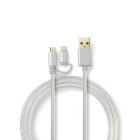 Cablu de alimentare si sincronizare 2 in 1 Micro USB si Apple Lightnin