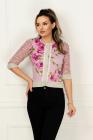 Pulover Venezia tricotat cu print floral si ciucuri ciclam
