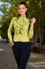 Camasa MBG verde eleganta cu jabou amplu si guler cret
