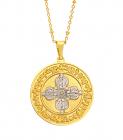 Amuleta pandantiv cu DUBLA DORJE aurie si mantra dorintelor