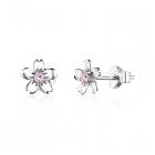 Cercei din argint Flowers Pink Crystals