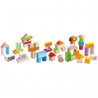 Set de Construit Cuburi in Galetusa Wooden Blocks 50 piese