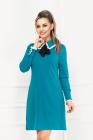 Rochie de zi turquoise cu volanase din voal la guler si mansete
