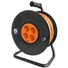 Prelungitor cu tambur 4 prize 15M Black Orange