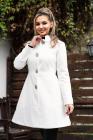 Palton elegant alb in clos din stofa cu model in relief