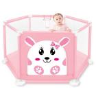Tarc de joaca pentru copii cu imprimeu usita cu fermoar roz