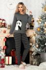 Pijama trendy Panda din bumbac cu pantaloni in dungi