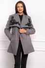 Jacheta dama din stofa gri cu broderie florala neagra la guler si buzu