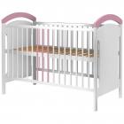 Patut copii din lemn Anita 120 cm x 60 cm alb roz