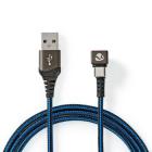 Cablu USB 2 0 A tata USB C tata conector gaming 180 2m negru albastru