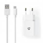 Alimentator USB Nedis iesire 2 1A cablu micro USB inclus alb