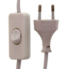 Cablu alimentare cu intrerupator pe fir 2x0 75mmp 2m alb