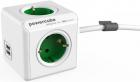 Priza prelungitor Allocacoc PowerCube Extended 2x USB 4x Schuko Green