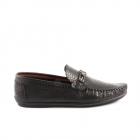 Pantofi barbati Benvenuti negri din piele cu aspect croco print 1379bp