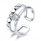 Inel din argint reglabil Double Glamour Hearts