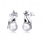 Cercei din argint Pearled Kitties