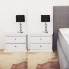 NOA601 Set 2 Noptiere albe cu 2 sertare pentru dormitor