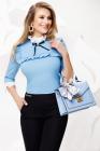 Camasa de dama bleu cu platca si volane crete