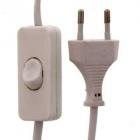 Cablu alimentare cu intrerupator pe fir 2x 0 75mmp 3m alb
