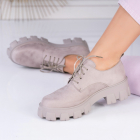 Pantofi Casual Piele Ecologica Intoarsa Gri Tania X2598