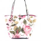Po et shopper Guess alb cu flori roz printate 911POSS55230MU