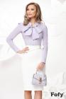 Camasa eleganta lila cu funda maxi si accesoriu tip brosa
