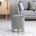 SCAG601 Scaun tapitat masa toaleta taburet machiaj Argintiu Gri